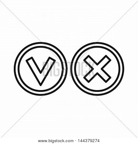 Tick and cross circle shape icon in outline style on a white background