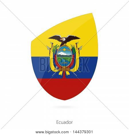 Flag Of Ecuador In The Style Of Rugby Icon.