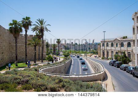 JERUSALEM, ISRAEL - JUNE 2, 2015: Road near the old city walls