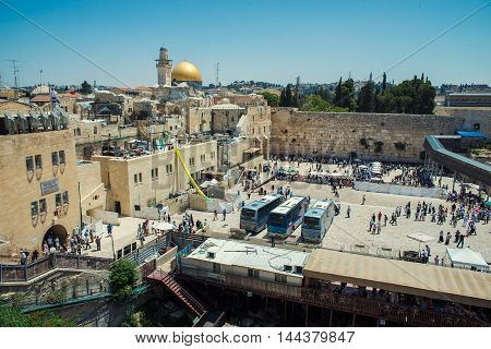 JERUSALEM, ISRAEL - JUNE 1, 2015:The Western Wall, Wailing Wall