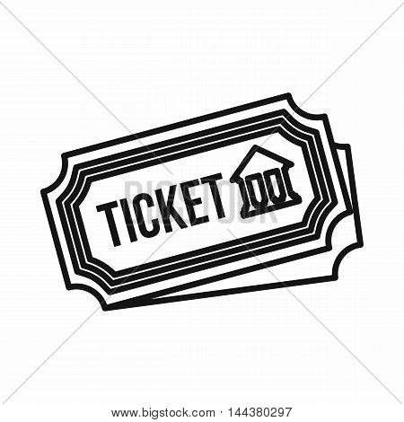 Museum ticket icon in outline style on a white background
