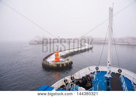 HELSINGOR, DENMARK - DECEMBER 30: Ferry from Helsingborg came in Helsingor