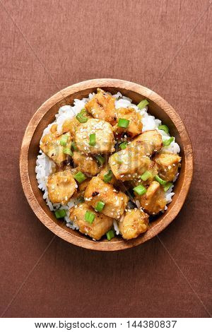 Chicken meat with orange sauce and green onion over rice top view