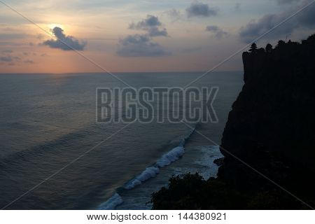 Silhouette of Uluwatu Temple at the dusk Bali Indonesia