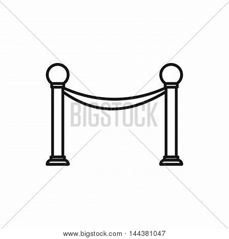 Barrier rope icon in outline style on a white background