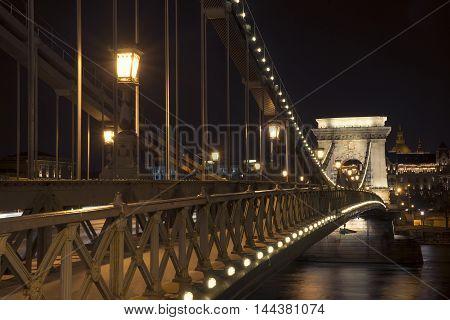 Chain Bridge at night in Budapest, close-up