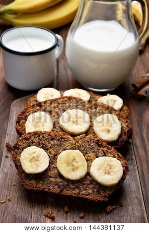 Slices of homemade banana bread and milk