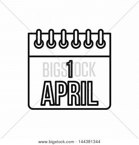 April 1, April Fools Day calendar icon in outline style on a white background