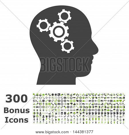 Brain Mechanics icon with 300 bonus icons. Vector illustration style is flat iconic bicolor symbols, eco green and gray colors, white background.