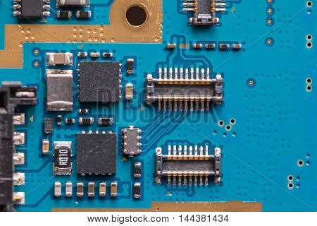 Electronic connectors on pcb board. Close up shot.