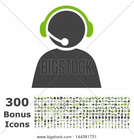 Call Center Operator icon with 300 bonus icons. Vector illustration style is flat iconic bicolor symbols, eco green and gray colors, white background.