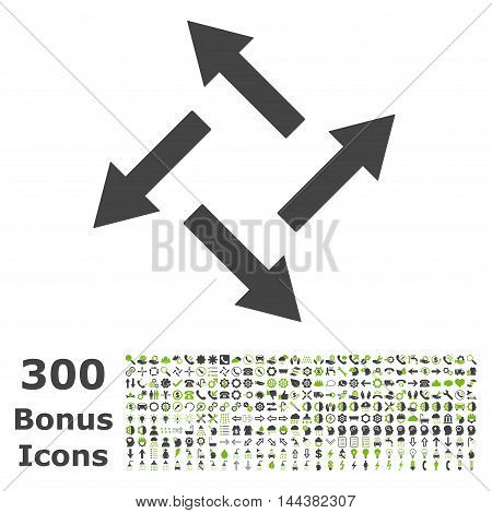 Centrifugal Arrows icon with 300 bonus icons. Vector illustration style is flat iconic bicolor symbols, eco green and gray colors, white background.