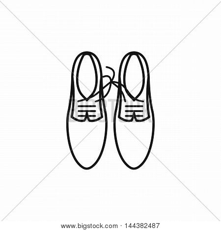 Shoes with laces tied together icon in outline style on a white background