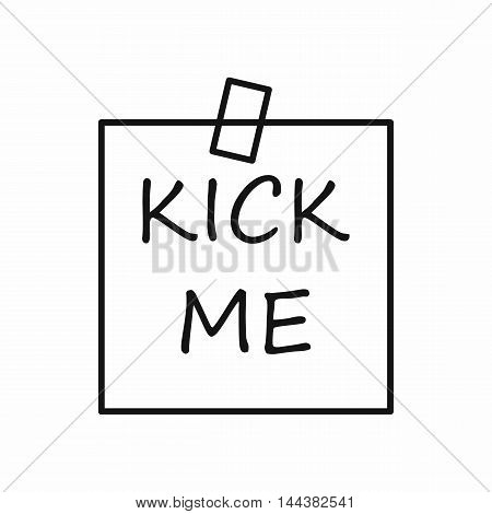 Kick me sticker icon in outline style on a white background