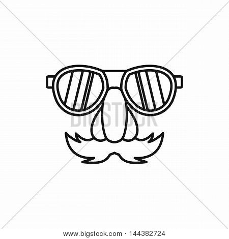 Comedy fake nose mustache, eyebrows, glasses icon in outline style on a white background