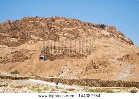 view of the dry mountains of Masada in Israel