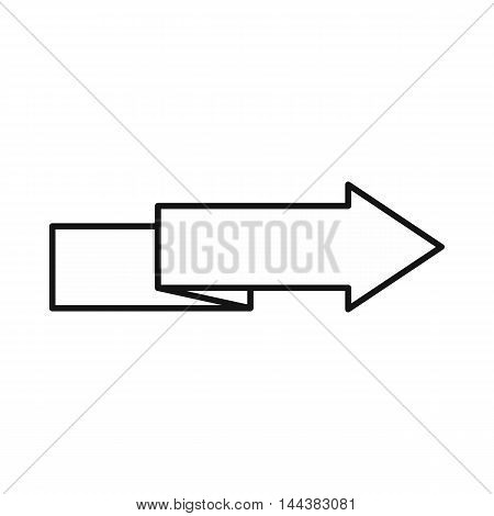 Origami right arrow icon in outline style on a white background