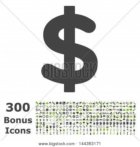 Dollar icon with 300 bonus icons. Vector illustration style is flat iconic bicolor symbols, eco green and gray colors, white background.
