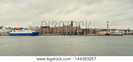 HELSINGBORG, SWEDEN - JANUARY 3, 2015: Sightseeing the port in Helsingborg.  A city in south western Sweden, located in front of the Danish Helsingor. January 3, 2015. Helsingborg, Sweden.