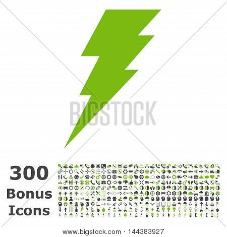 Execute icon with 300 bonus icons. Vector illustration style is flat iconic bicolor symbols, eco green and gray colors, white background.