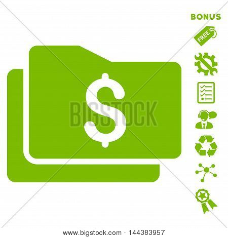 Wallet icon with bonus pictograms. Vector illustration style is flat iconic symbols, eco green color, white background, rounded angles.