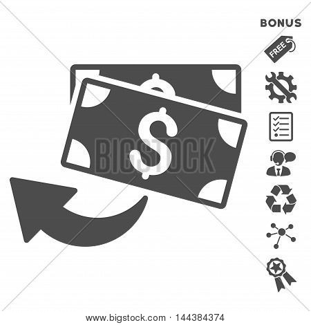 Cashback icon with bonus pictograms. Vector illustration style is flat iconic symbols, gray color, white background, rounded angles.
