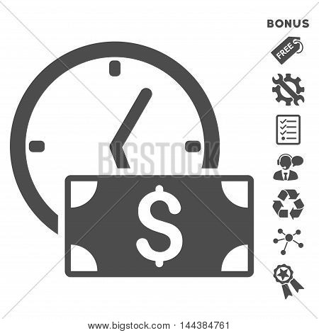 Credit icon with bonus pictograms. Vector illustration style is flat iconic symbols, gray color, white background, rounded angles.