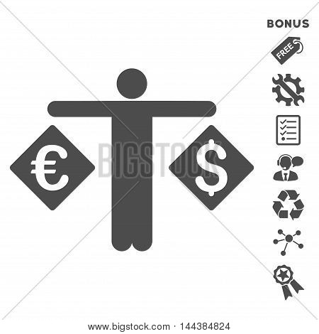 Currency Trader icon with bonus pictograms. Vector illustration style is flat iconic symbols, gray color, white background, rounded angles.