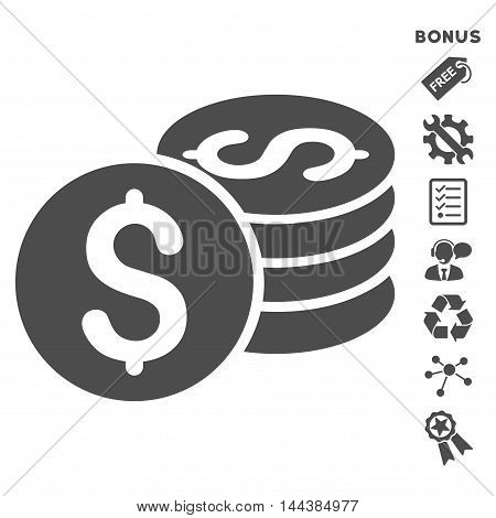 Dollar Coin Stack icon with bonus pictograms. Vector illustration style is flat iconic symbols, gray color, white background, rounded angles.