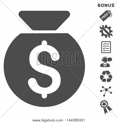 Financial Capital icon with bonus pictograms. Vector illustration style is flat iconic symbols, gray color, white background, rounded angles.