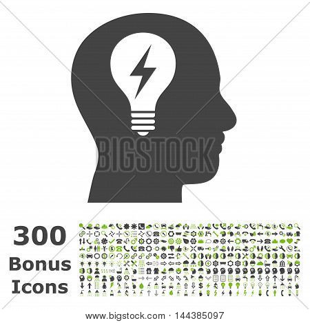 Head Bulb icon with 300 bonus icons. Vector illustration style is flat iconic bicolor symbols, eco green and gray colors, white background.