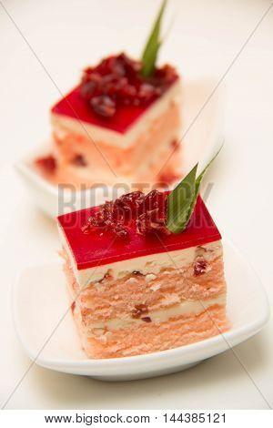 A mini squares Cranberry cream Cake for