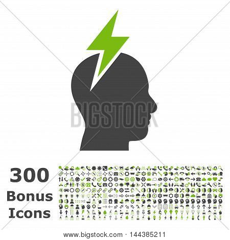 Headache icon with 300 bonus icons. Vector illustration style is flat iconic bicolor symbols, eco green and gray colors, white background.