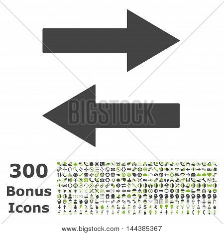 Horizontal Flip Arrows icon with 300 bonus icons. Vector illustration style is flat iconic bicolor symbols, eco green and gray colors, white background.