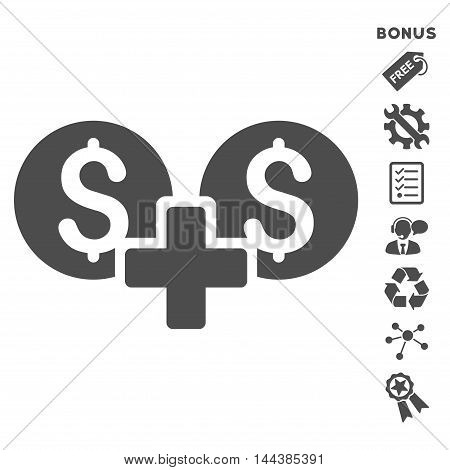 Financial Sum icon with bonus pictograms. Vector illustration style is flat iconic symbols, gray color, white background, rounded angles.