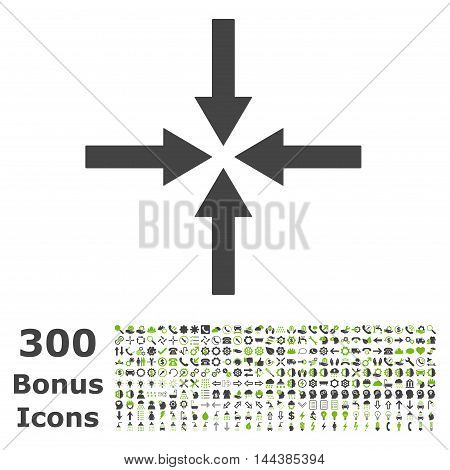 Impact Arrows icon with 300 bonus icons. Vector illustration style is flat iconic bicolor symbols, eco green and gray colors, white background.