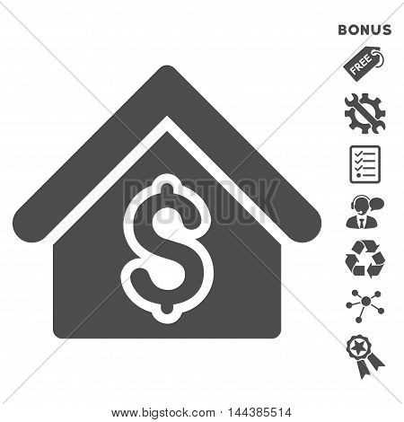 House Rent icon with bonus pictograms. Vector illustration style is flat iconic symbols, gray color, white background, rounded angles.