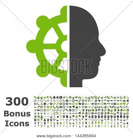 Intellect icon with 300 bonus icons. Vector illustration style is flat iconic bicolor symbols, eco green and gray colors, white background.