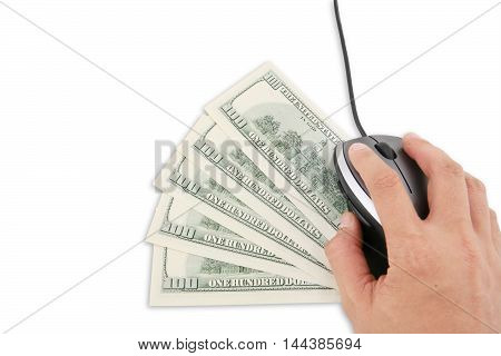 Close up of hand using a computer mouse above five banknote of one hundred dollar