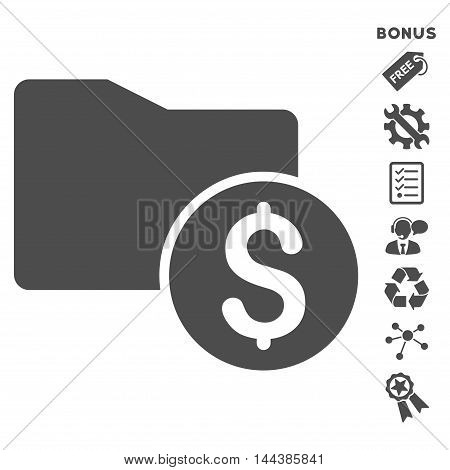 Money Folder icon with bonus pictograms. Vector illustration style is flat iconic symbols, gray color, white background, rounded angles.