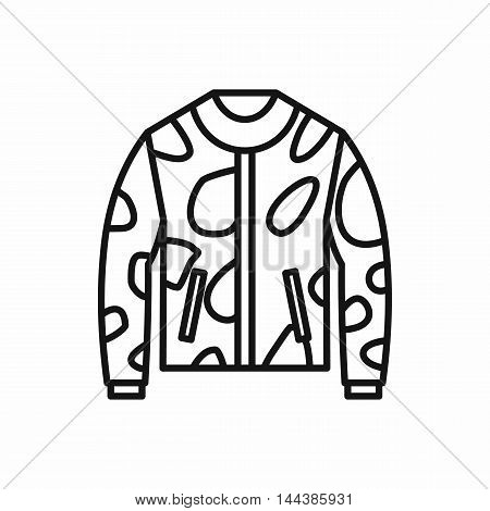 Camouflage jacket icon in outline style on a white background