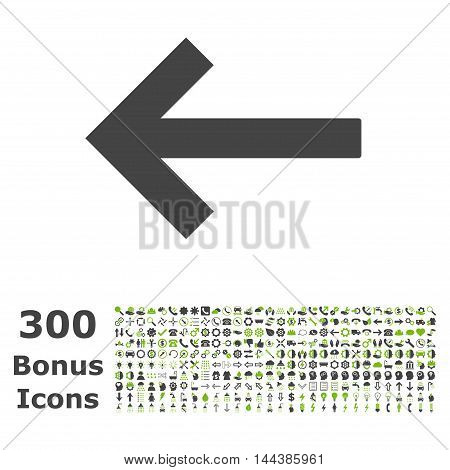 Left Arrow icon with 300 bonus icons. Vector illustration style is flat iconic bicolor symbols, eco green and gray colors, white background.