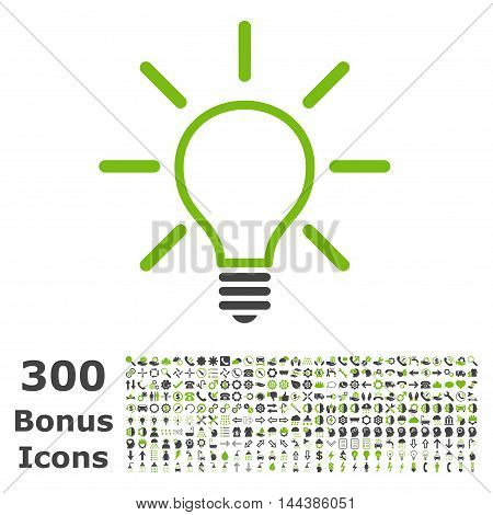 Light Bulb icon with 300 bonus icons. Vector illustration style is flat iconic bicolor symbols, eco green and gray colors, white background.