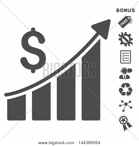 Sales Growth Bar Chart icon with bonus pictograms. Vector illustration style is flat iconic symbols, gray color, white background, rounded angles.