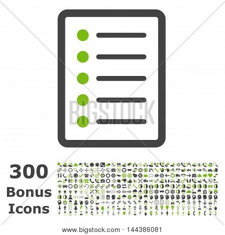 List Page icon with 300 bonus icons. Vector illustration style is flat iconic bicolor symbols, eco green and gray colors, white background.