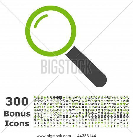 Magnifier icon with 300 bonus icons. Vector illustration style is flat iconic bicolor symbols, eco green and gray colors, white background.