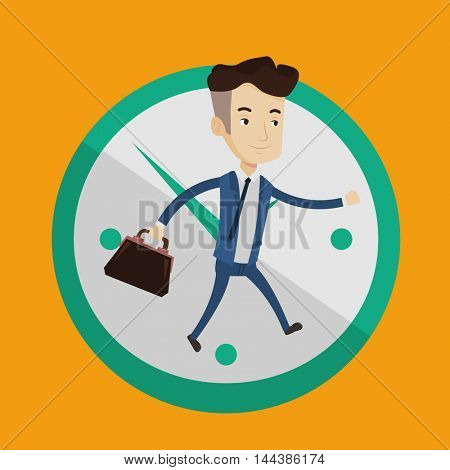 A happy businessman with suitcase in hand running on a background of big clock. Businessman in a hurry. Concept of deadline and busy time. Vector flat design illustration. Square layout.