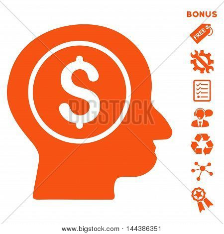 Banker icon with bonus pictograms. Vector illustration style is flat iconic symbols, orange color, white background, rounded angles.