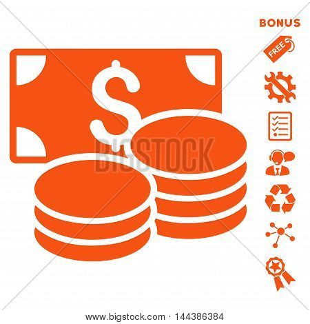 Cash icon with bonus pictograms. Vector illustration style is flat iconic symbols, orange color, white background, rounded angles.