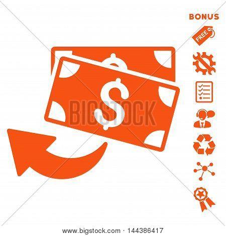 Cashback icon with bonus pictograms. Vector illustration style is flat iconic symbols, orange color, white background, rounded angles.